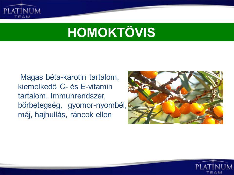 Magas béta-karotin tartalom, kiemelkedő C- és E-vitamin tartalom. Immunrendszer, bőrbetegség, gyomor-nyombél, máj, hajhullás, ráncok ellen HOMOKTÖVIS