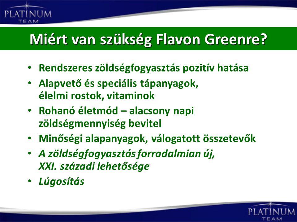 Miért van szükség Flavon Greenre? Rendszeres zöldségfogyasztás pozitív hatása Alapvető és speciális tápanyagok, élelmi rostok, vitaminok Rohanó életmó