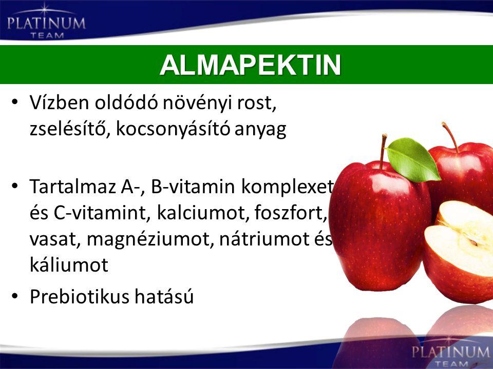 Vízben oldódó növényi rost, zselésítő, kocsonyásító anyag Tartalmaz A-, B-vitamin komplexet és C-vitamint, kalciumot, foszfort, vasat, magnéziumot, ná