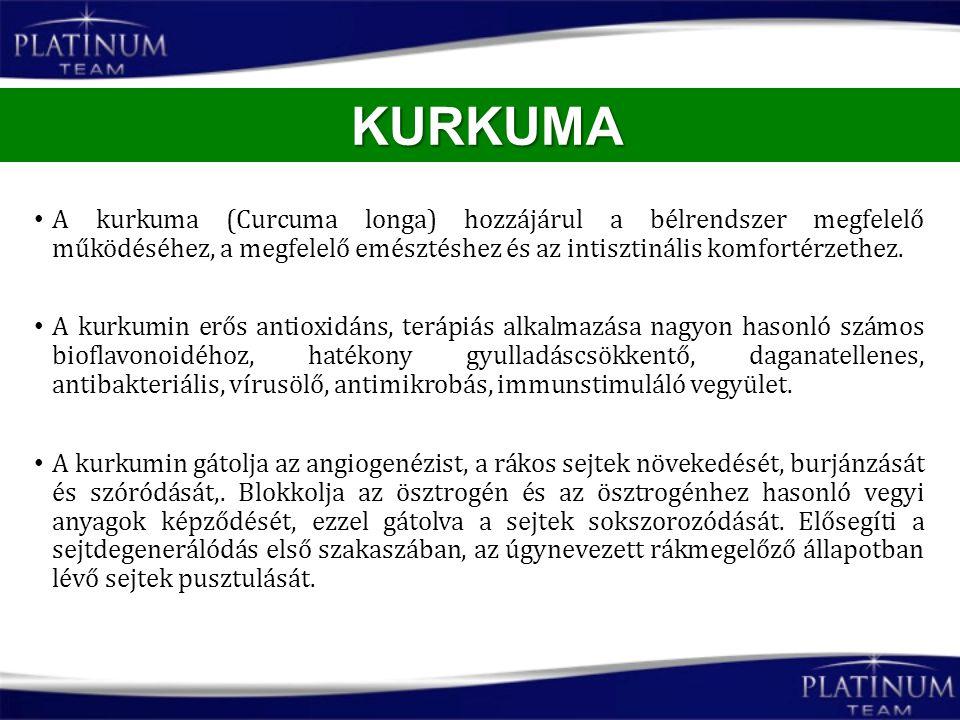 A kurkuma (Curcuma longa) hozzájárul a bélrendszer megfelelő működéséhez, a megfelelő emésztéshez és az intisztinális komfortérzethez. A kurkumin erős