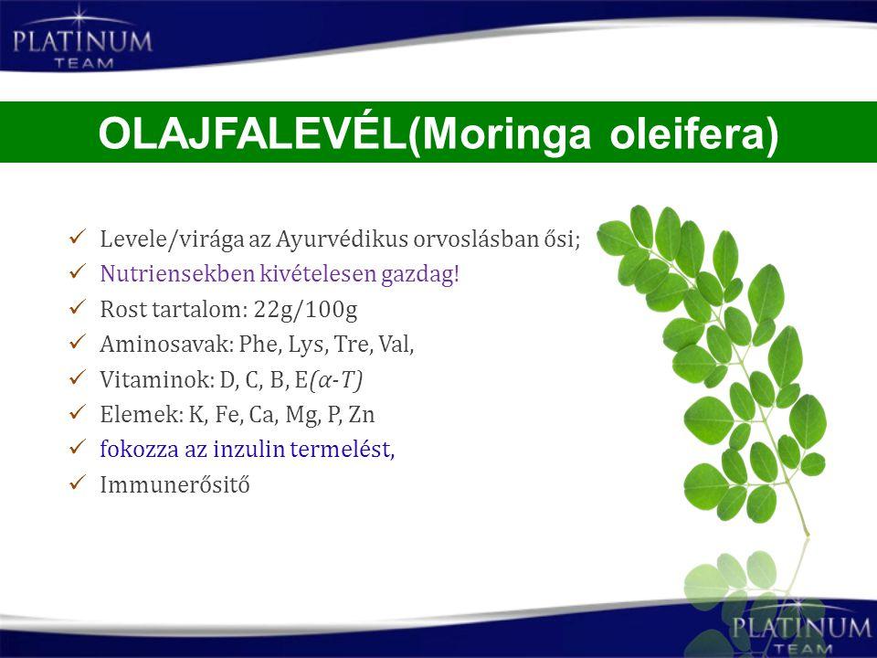 Levele/virága az Ayurvédikus orvoslásban ősi; Nutriensekben kivételesen gazdag! Rost tartalom: 22g/100g Aminosavak: Phe, Lys, Tre, Val, Vitaminok: D,