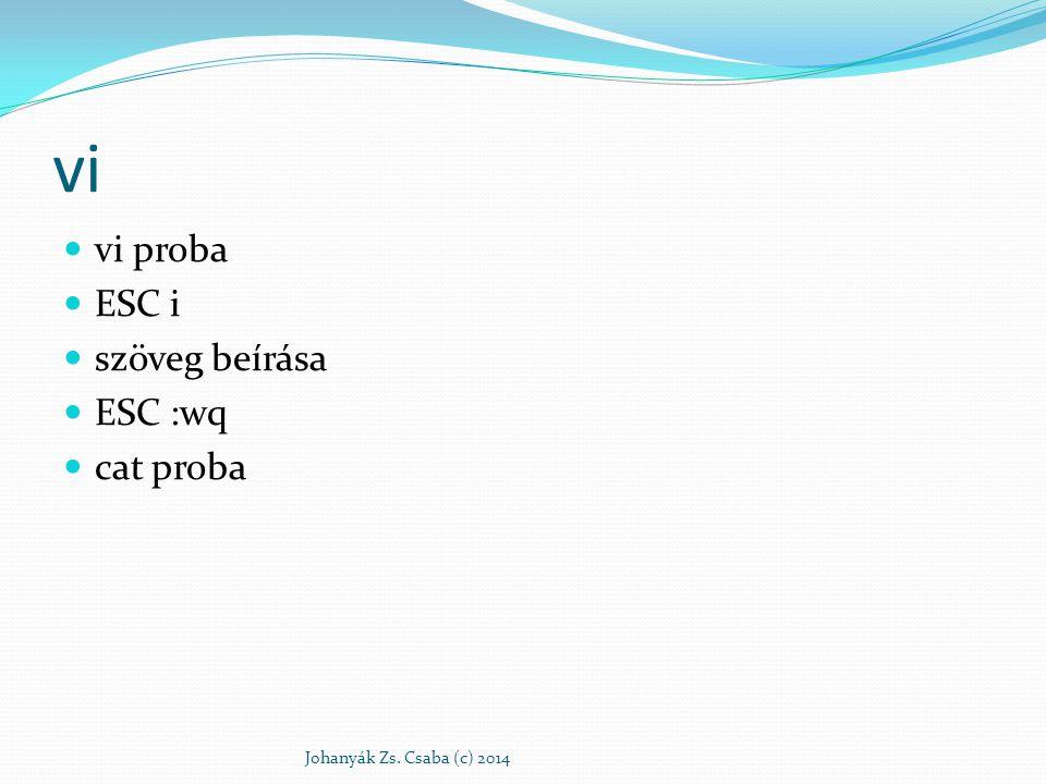 vi vi proba ESC i szöveg beírása ESC :wq cat proba Johanyák Zs. Csaba (c) 2014