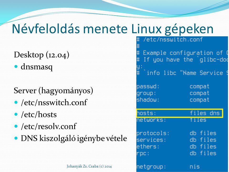Névfeloldás menete Linux gépeken Desktop (12.04) dnsmasq Server (hagyományos) /etc/nsswitch.conf /etc/hosts /etc/resolv.conf DNS kiszolgáló igénybe vé
