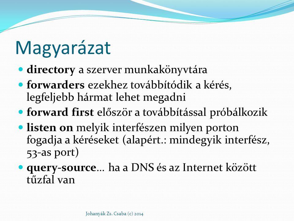 Magyarázat directory a szerver munkakönyvtára forwarders ezekhez továbbítódik a kérés, legfeljebb hármat lehet megadni forward first először a továbbí