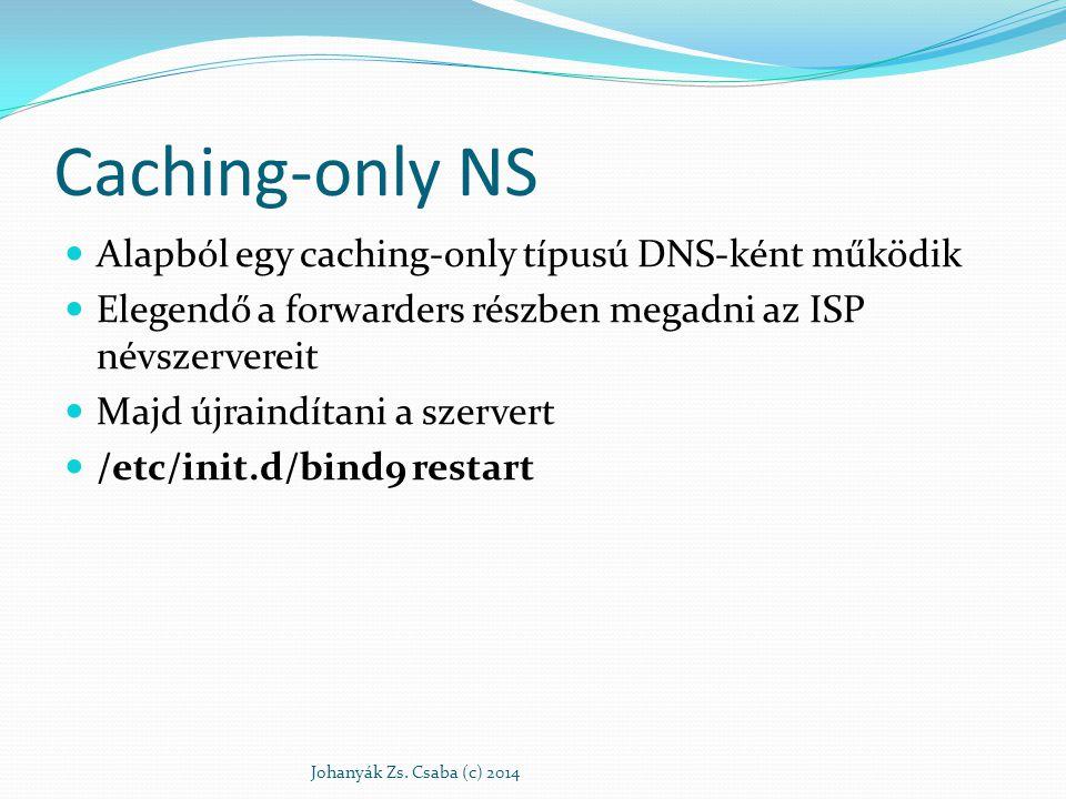Caching-only NS Alapból egy caching-only típusú DNS-ként működik Elegendő a forwarders részben megadni az ISP névszervereit Majd újraindítani a szerve