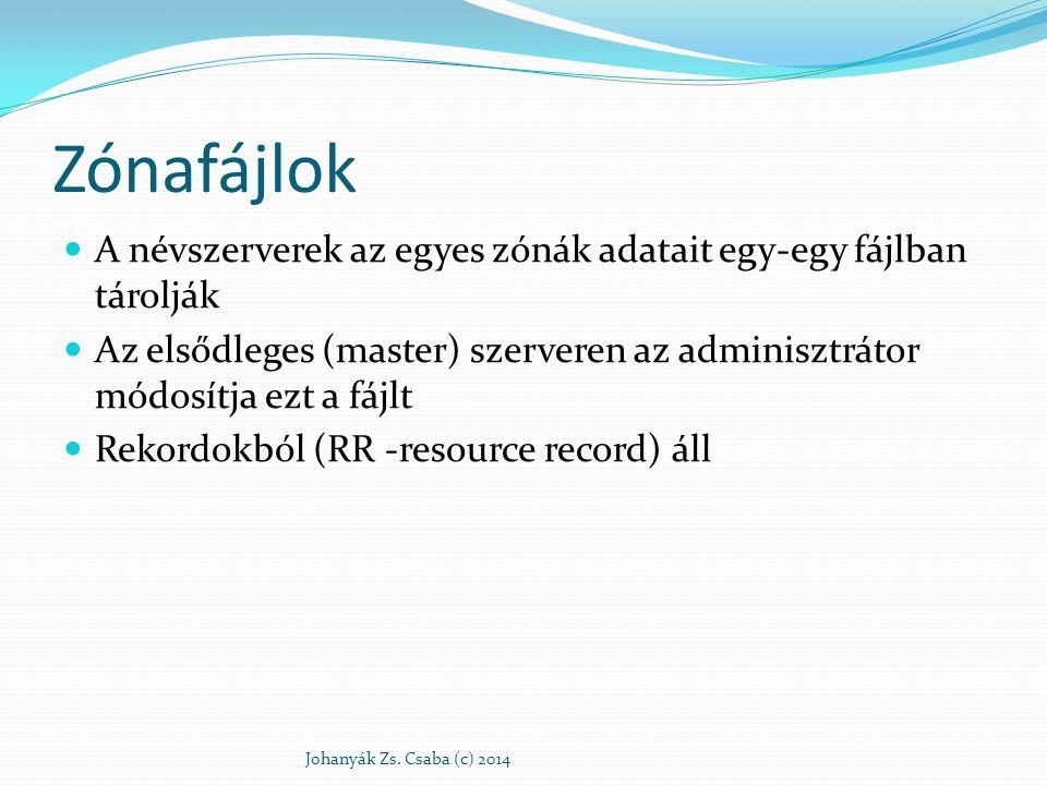 Zónafájlok A névszerverek az egyes zónák adatait egy-egy fájlban tárolják Az elsődleges (master) szerveren az adminisztrátor módosítja ezt a fájlt Rek