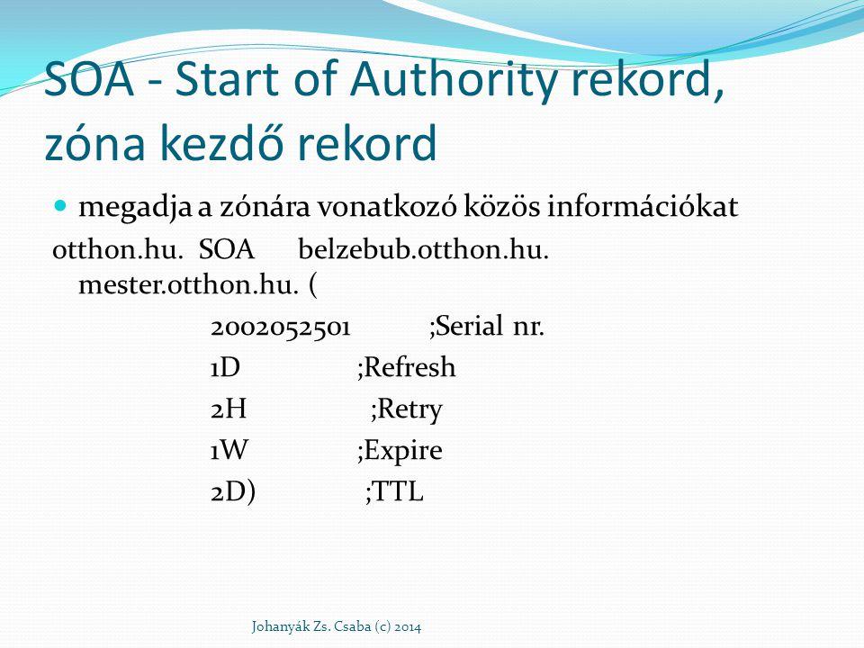 SOA - Start of Authority rekord, zóna kezdő rekord megadja a zónára vonatkozó közös információkat otthon.hu. SOA belzebub.otthon.hu. mester.otthon.hu.