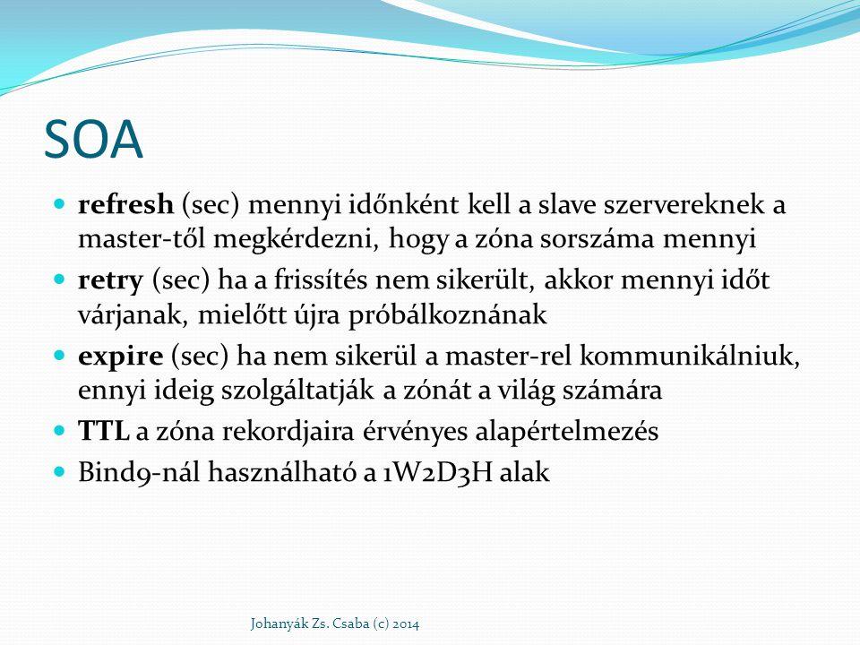 SOA refresh (sec) mennyi időnként kell a slave szervereknek a master-től megkérdezni, hogy a zóna sorszáma mennyi retry (sec) ha a frissítés nem siker