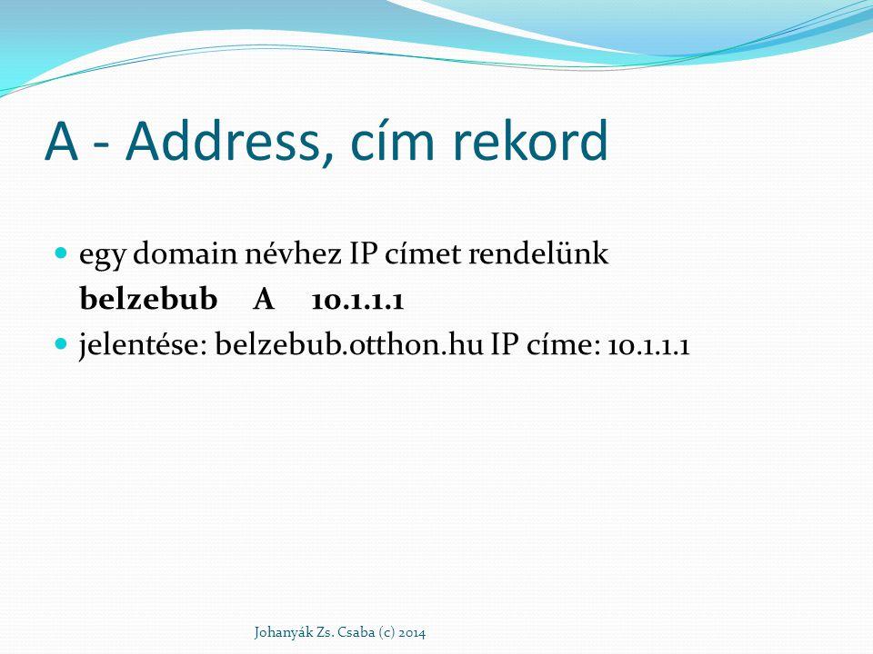 A - Address, cím rekord egy domain névhez IP címet rendelünk belzebub A 10.1.1.1 jelentése: belzebub.otthon.hu IP címe: 10.1.1.1 Johanyák Zs. Csaba (c