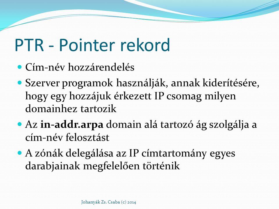 PTR - Pointer rekord Cím-név hozzárendelés Szerver programok használják, annak kiderítésére, hogy egy hozzájuk érkezett IP csomag milyen domainhez tar