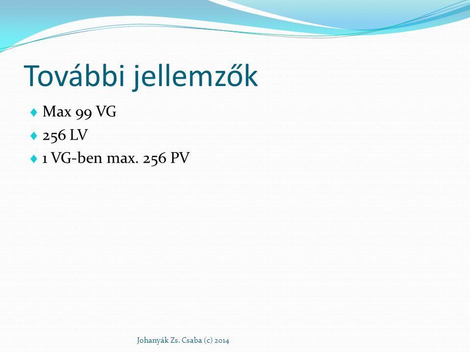További jellemzők  Max 99 VG  256 LV  1 VG-ben max. 256 PV Johanyák Zs. Csaba (c) 2014