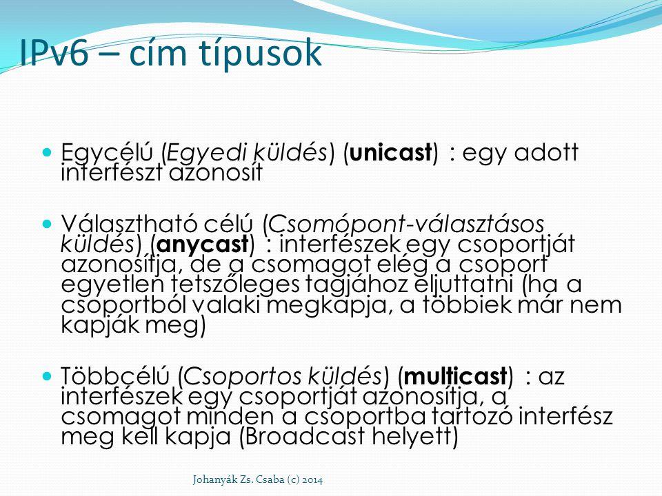 IPv6 – cím típusok Egycélú (Egyedi küldés) ( unicast ) : egy adott interfészt azonosít Választható célú (Csomópont-választásos küldés) ( anycast ) : i