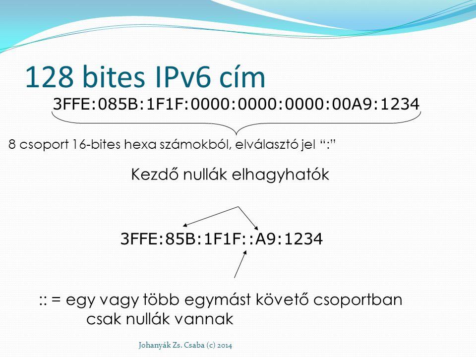 """128 bites IPv6 cím Johanyák Zs. Csaba (c) 2014 3FFE:085B:1F1F:0000:0000:0000:00A9:1234 8 csoport 16-bites hexa számokból, elválasztó jel """":"""" 3FFE:85B:"""