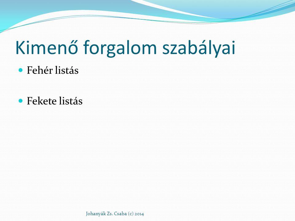 Kimenő forgalom szabályai Fehér listás Fekete listás Johanyák Zs. Csaba (c) 2014