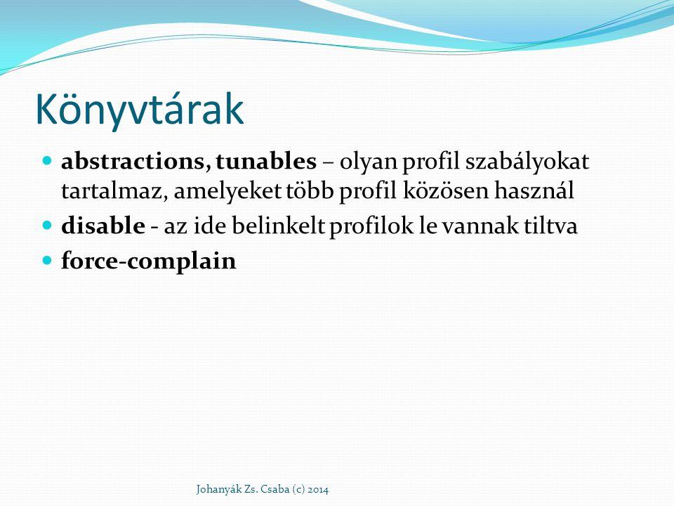 Könyvtárak abstractions, tunables – olyan profil szabályokat tartalmaz, amelyeket több profil közösen használ disable - az ide belinkelt profilok le v