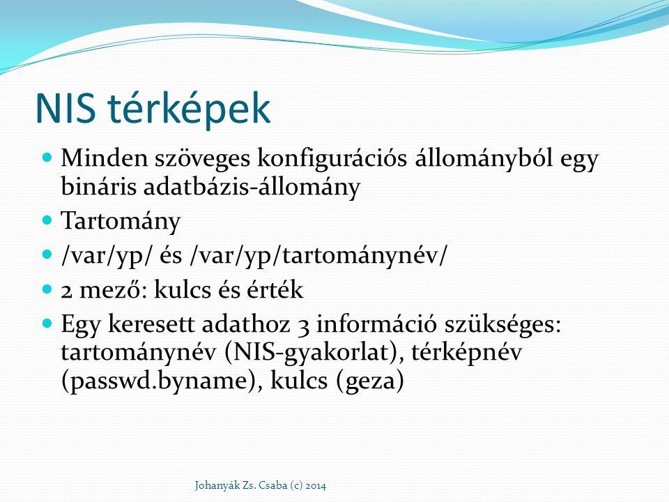 NIS térképek Minden szöveges konfigurációs állományból egy bináris adatbázis-állomány Tartomány /var/yp/ és /var/yp/tartománynév/ 2 mező: kulcs és ért