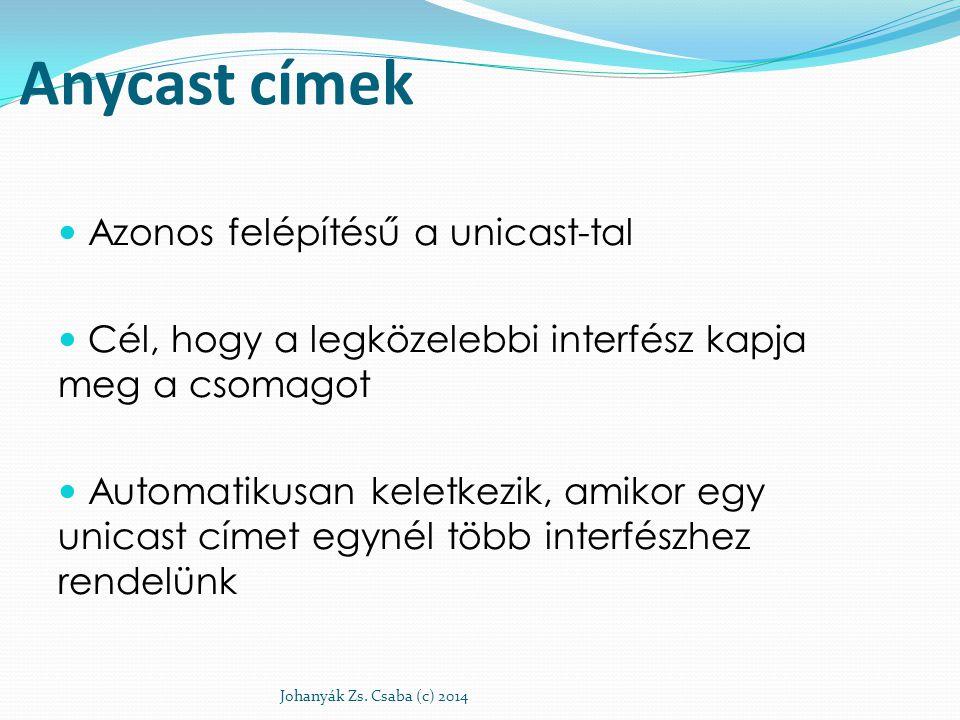 Anycast címek Azonos felépítésű a unicast-tal Cél, hogy a legközelebbi interfész kapja meg a csomagot Automatikusan keletkezik, amikor egy unicast cím