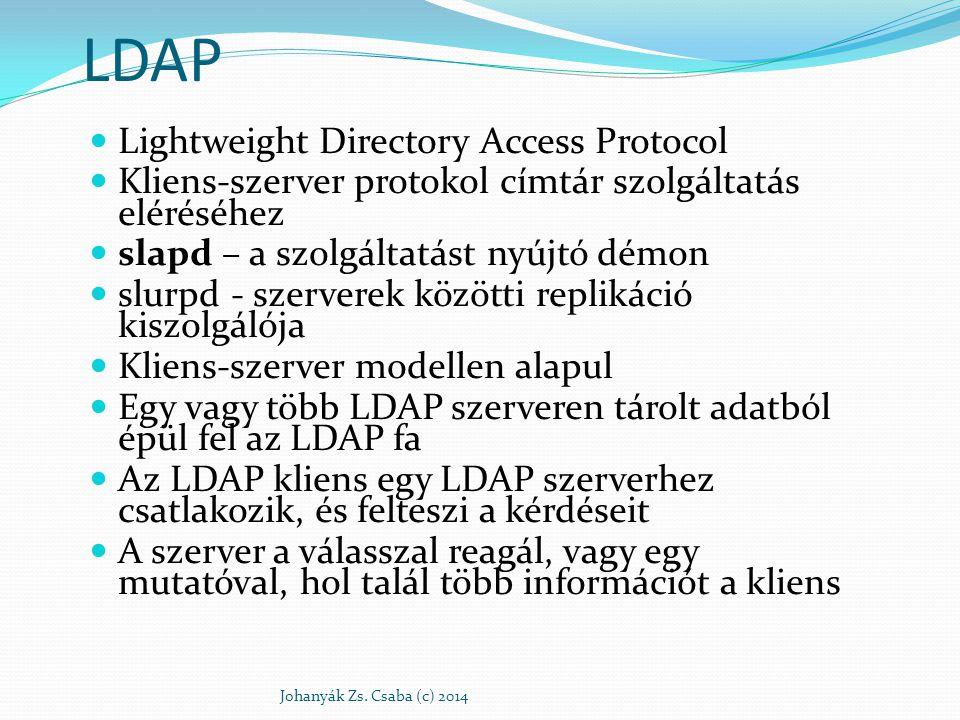LDAP Lightweight Directory Access Protocol Kliens-szerver protokol címtár szolgáltatás eléréséhez slapd – a szolgáltatást nyújtó démon slurpd - szerve