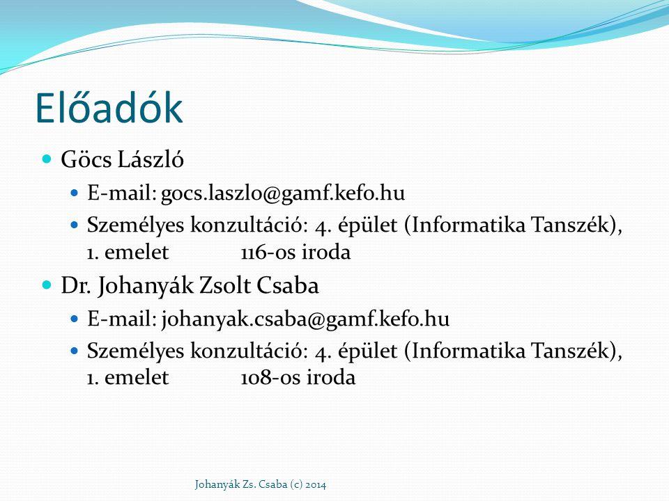 Előadók Göcs László E-mail: gocs.laszlo@gamf.kefo.hu Személyes konzultáció: 4. épület (Informatika Tanszék), 1. emelet 116-os iroda Dr. Johanyák Zsolt