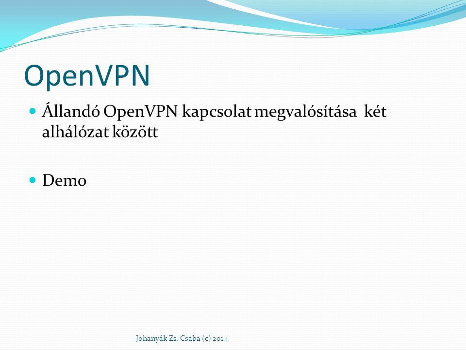 OpenVPN Állandó OpenVPN kapcsolat megvalósítása két alhálózat között Demo Johanyák Zs. Csaba (c) 2014