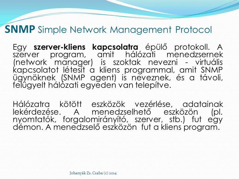 SNMP Simple Network Management Protocol Egy szerver-kliens kapcsolatra épülő protokoll. A szerver program, amit hálózati menedzsernek (network manager