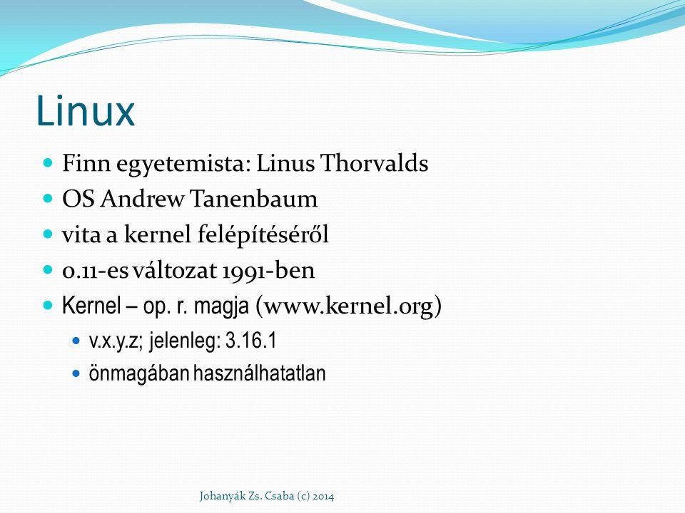 Linux Finn egyetemista: Linus Thorvalds OS Andrew Tanenbaum vita a kernel felépítéséről 0.11-es változat 1991-ben Kernel – op. r. magja (www.kernel.or