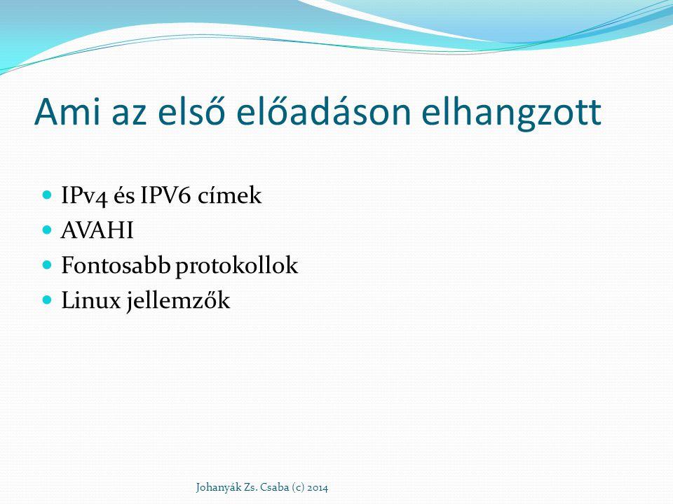 Ami az első előadáson elhangzott IPv4 és IPV6 címek AVAHI Fontosabb protokollok Linux jellemzők Johanyák Zs. Csaba (c) 2014