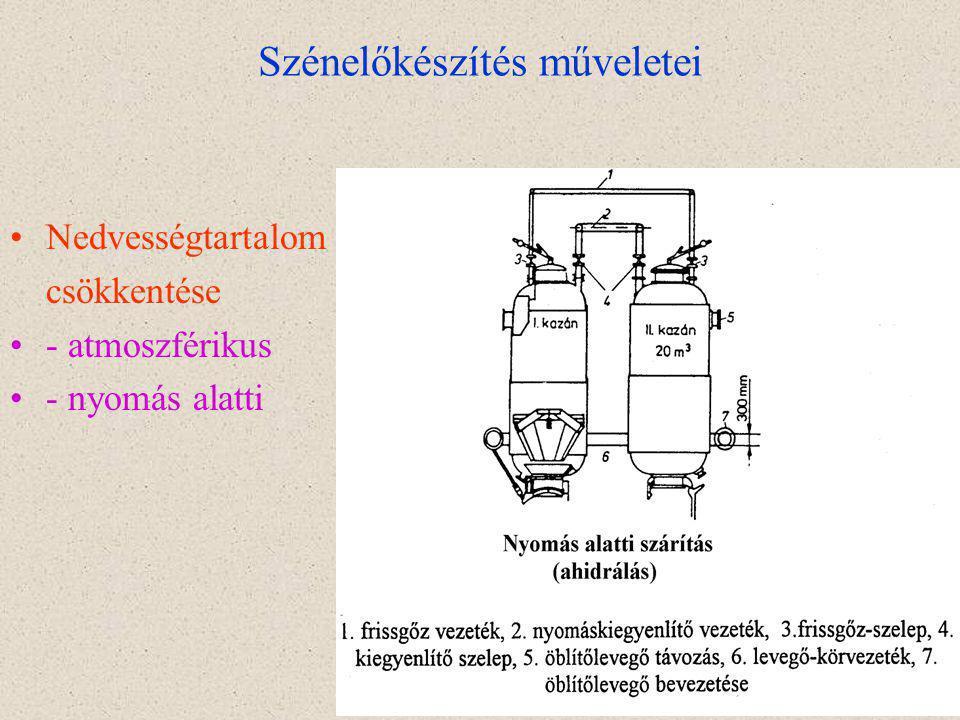 19 Szénelőkészítés műveletei Nedvességtartalom csökkentése - atmoszférikus - nyomás alatti