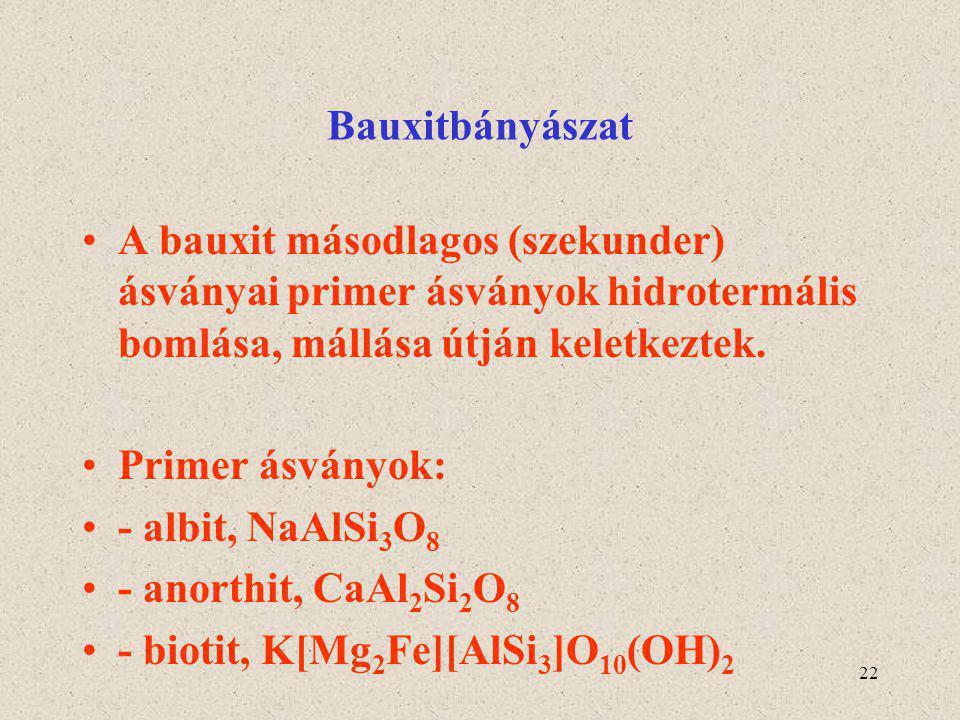 22 Bauxitbányászat A bauxit másodlagos (szekunder) ásványai primer ásványok hidrotermális bomlása, mállása útján keletkeztek. Primer ásványok: - albit