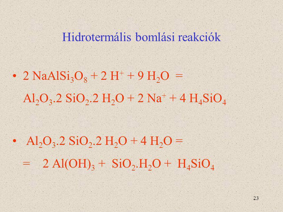 23 Hidrotermális bomlási reakciók 2 NaAlSi 3 O 8 + 2 H + + 9 H 2 O = Al 2 O 3.2 SiO 2.2 H 2 O + 2 Na + + 4 H 4 SiO 4 Al 2 O 3.2 SiO 2.2 H 2 O + 4 H 2