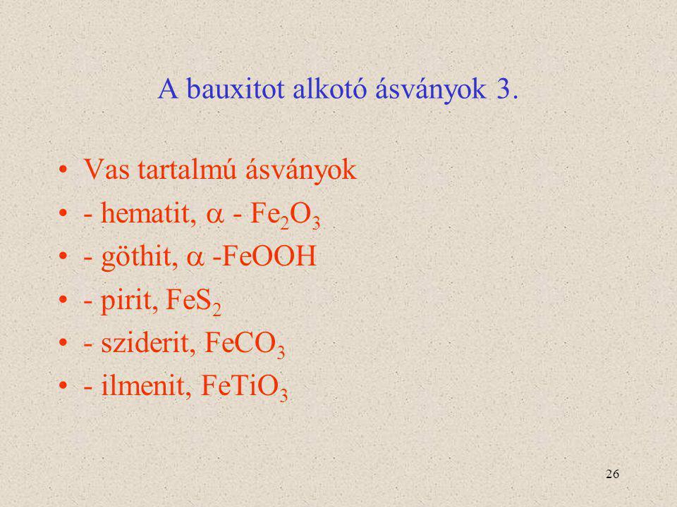 26 A bauxitot alkotó ásványok 3. Vas tartalmú ásványok - hematit,  - Fe 2 O 3 - göthit,  -FeOOH - pirit, FeS 2 - sziderit, FeCO 3 - ilmenit, FeTiO 3