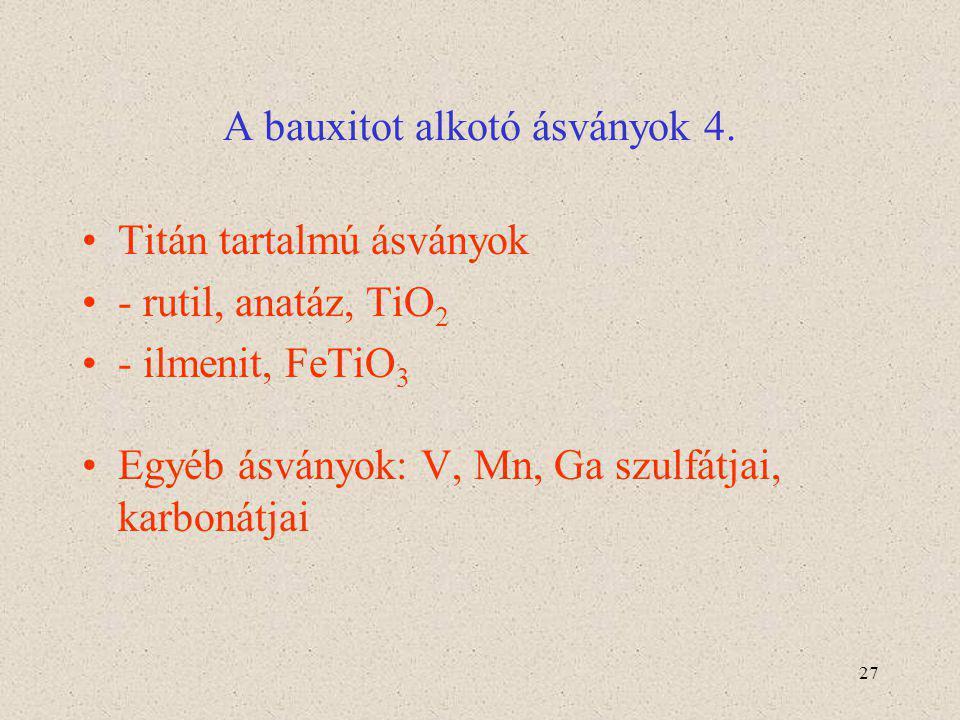 27 A bauxitot alkotó ásványok 4. Titán tartalmú ásványok - rutil, anatáz, TiO 2 - ilmenit, FeTiO 3 Egyéb ásványok: V, Mn, Ga szulfátjai, karbonátjai