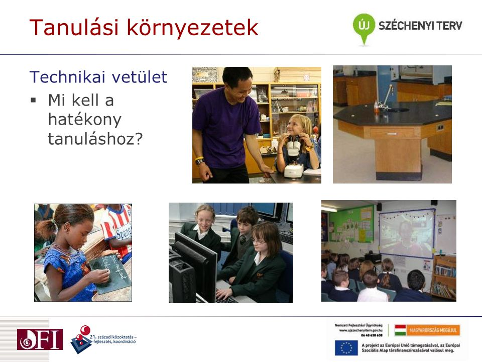 Technikai vetület  Mi kell a hatékony tanuláshoz Tanulási környezetek