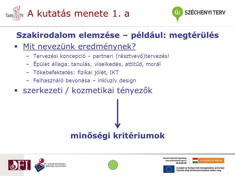 A kutatás menete 1. a Szakirodalom elemzése – például: megtérülés  Mit nevezünk eredménynek.