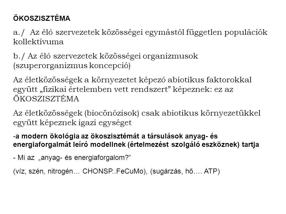 ÖKOSZISZTÉMA a./ Az élő szervezetek közösségei egymástól független populációk kollektívuma b./ Az élő szervezetek közösségei organizmusok (szuperorgan