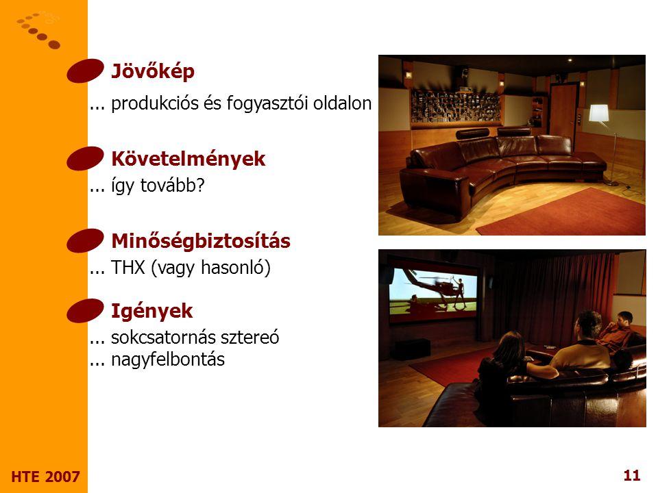 11 HTE 2007 Jövőkép... produkciós és fogyasztói oldalon Követelmények...