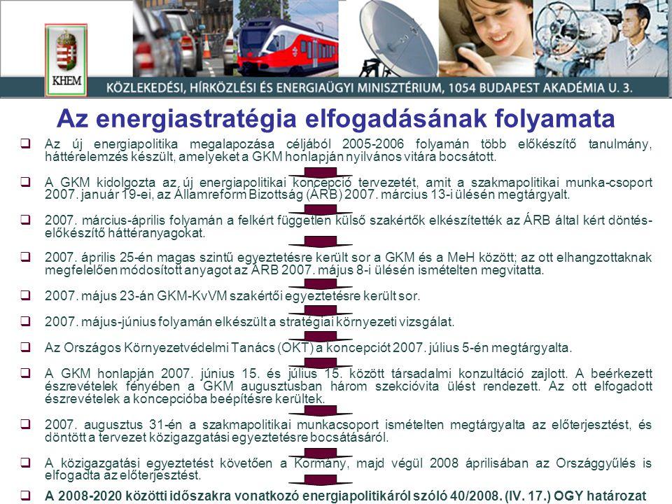 Az energetikában kezelendő főbb kihívások  Primer energiahordozók drágulása  Energiaimport függőség – ellátásbiztonság  A formálódó közösségi energiapolitikával való összhang megteremtése, illetve annak a hazai érdekeknek megfelelő alakítása  Állami szerepvállalással az energiahatékonyság fokozása, illetve a megújuló energiafelhasználás növelése