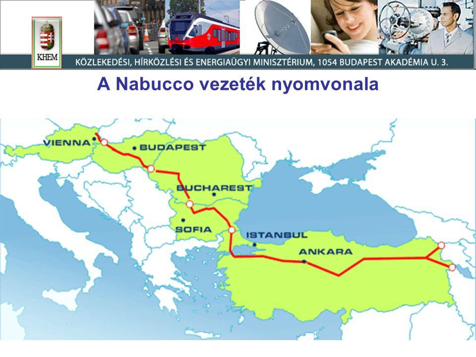 A Nabucco vezeték nyomvonala