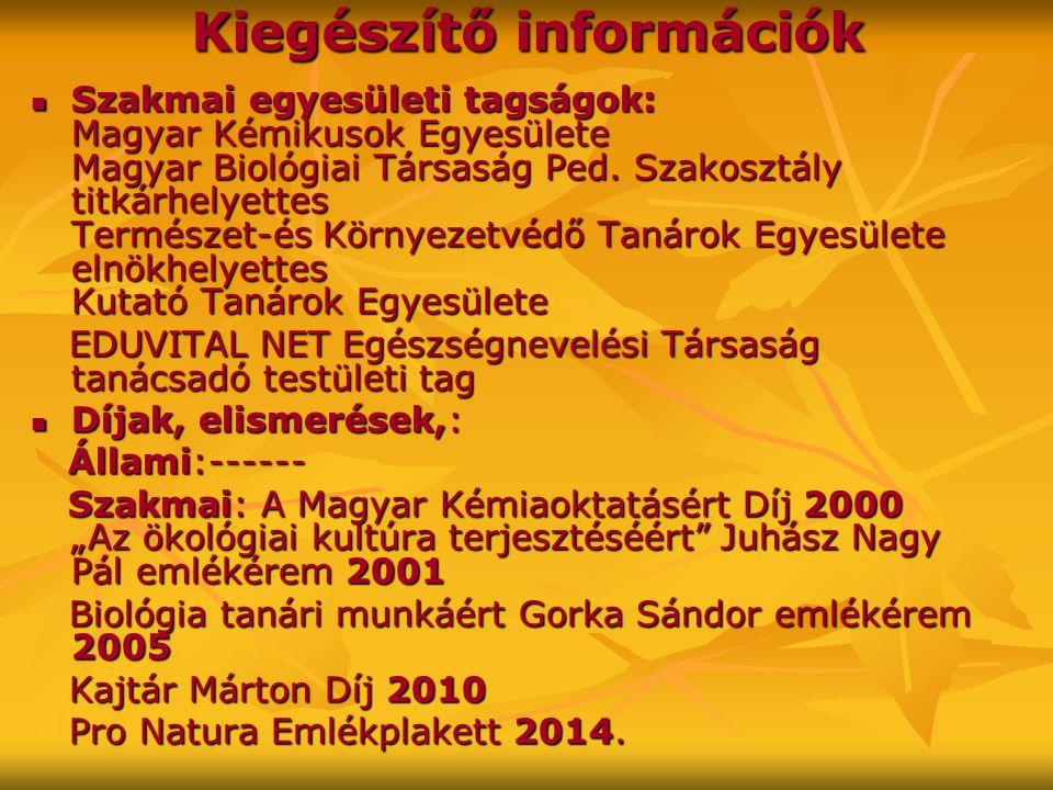 Kiegészítő információk Szakmai egyesületi tagságok: Magyar Kémikusok Egyesülete Magyar Biológiai Társaság Ped.