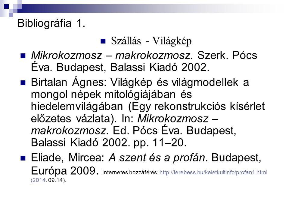 Bibliográfia 1. Szállás - Világkép Mikrokozmosz – makrokozmosz.