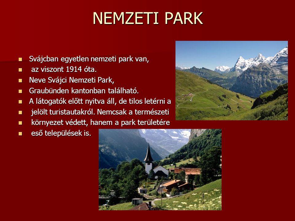 NEMZETI PARK Svájcban egyetlen nemzeti park van, Svájcban egyetlen nemzeti park van, az viszont 1914 óta. az viszont 1914 óta. Neve Svájci Nemzeti Par