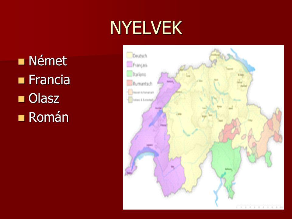 NYELVEK Német Német Francia Francia Olasz Olasz Román Román