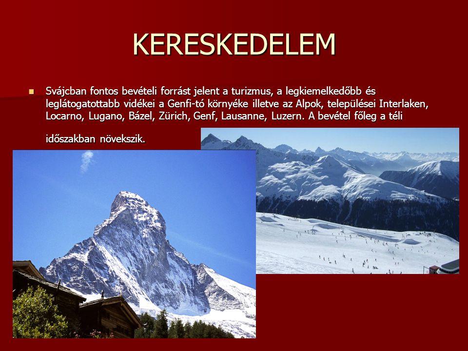KERESKEDELEM Svájcban fontos bevételi forrást jelent a turizmus, a legkiemelkedőbb és leglátogatottabb vidékei a Genfi-tó környéke illetve az Alpok, t