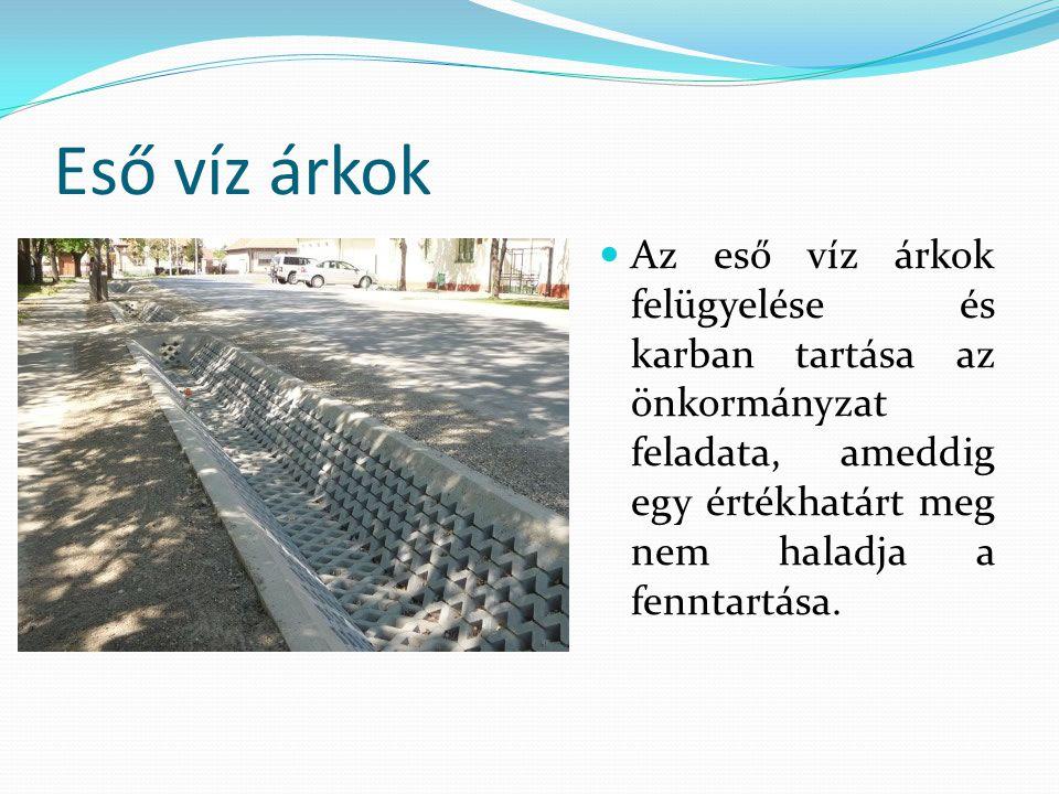 Eső víz árkok Az eső víz árkok felügyelése és karban tartása az önkormányzat feladata, ameddig egy értékhatárt meg nem haladja a fenntartása.