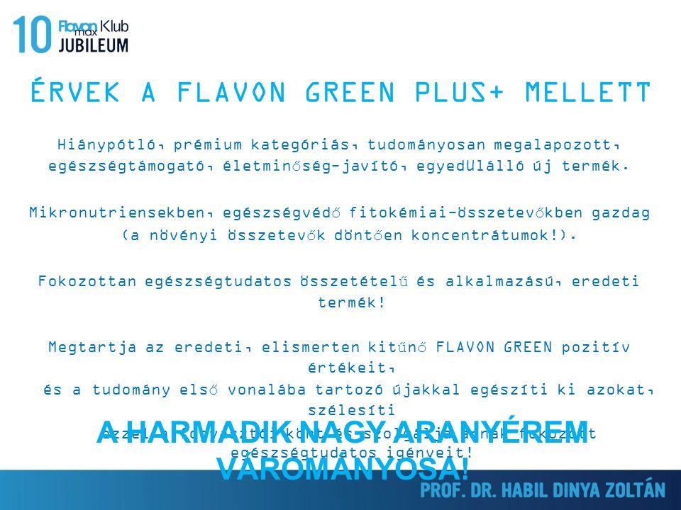 ÉRVEK A FLAVON GREEN PLUS+ MELLETT Hiánypótló, prémium kategóriás, tudományosan megalapozott, egészségtámogató, életminőség-javító, egyedülálló új ter
