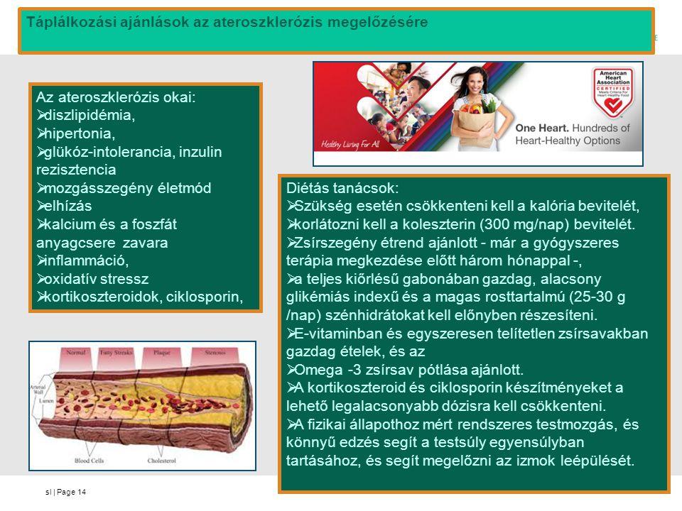 sl | Page14 Az ateroszklerózis okai:  diszlipidémia,  hipertonia,  glükóz-intolerancia, inzulin rezisztencia  mozgásszegény életmód  elhízás  ka