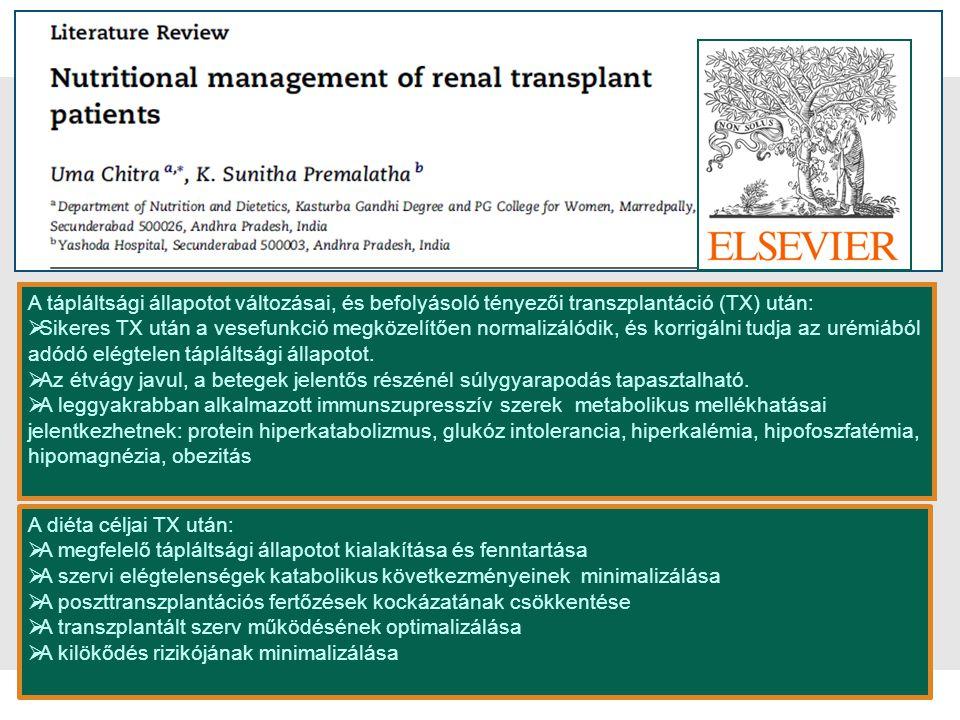 sl | Page2 A tápláltsági állapotot változásai, és befolyásoló tényezői transzplantáció (TX) után:  Sikeres TX után a vesefunkció megközelítően normal