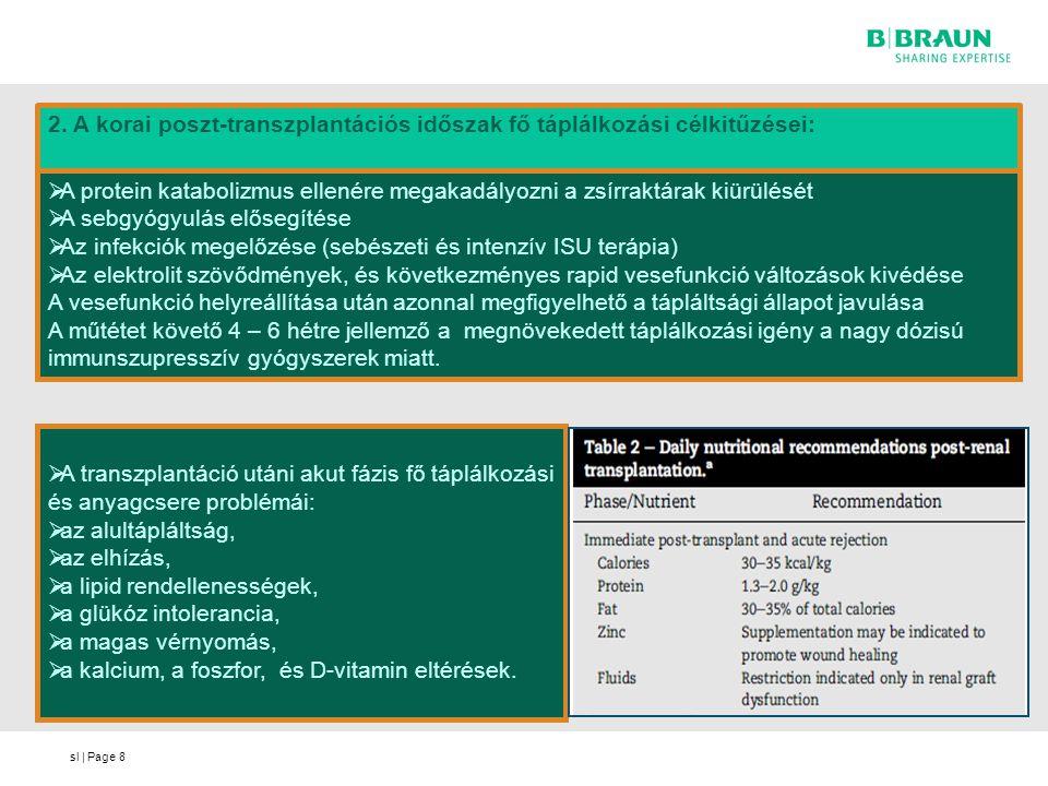 sl | Page8 2. A korai poszt-transzplantációs időszak fő táplálkozási célkitűzései:  A protein katabolizmus ellenére megakadályozni a zsírraktárak kiü