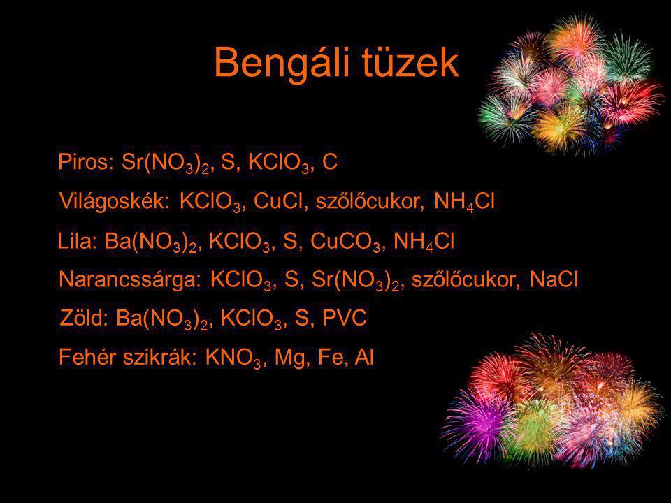 Piros: Sr(NO 3 ) 2, S, KClO 3, C Narancssárga: KClO 3, S, Sr(NO 3 ) 2, szőlőcukor, NaCl Lila: Ba(NO 3 ) 2, KClO 3, S, CuCO 3, NH 4 Cl Világoskék: KClO