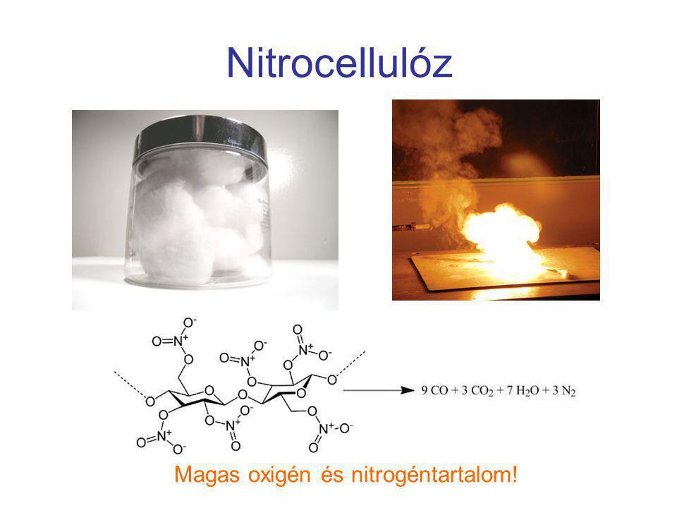 Nitrocellulóz Magas oxigén és nitrogéntartalom!